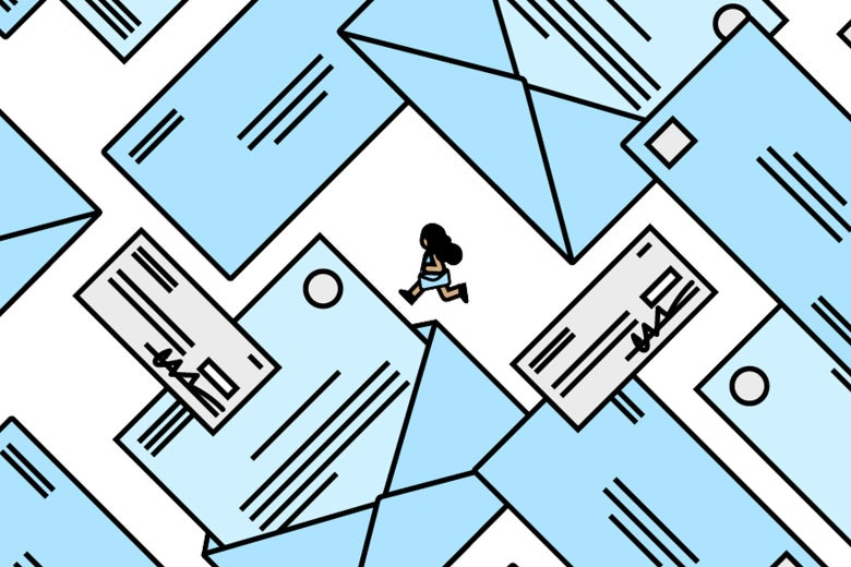 Illustration of a woman running amid an array of blue envelopes
