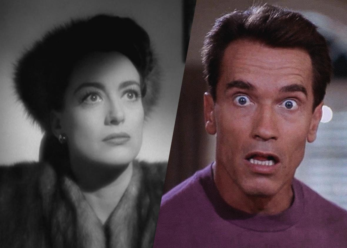 Joan Crawford from Mildred Pierce and Arnold Swarzenagger from Jingle All the Way.