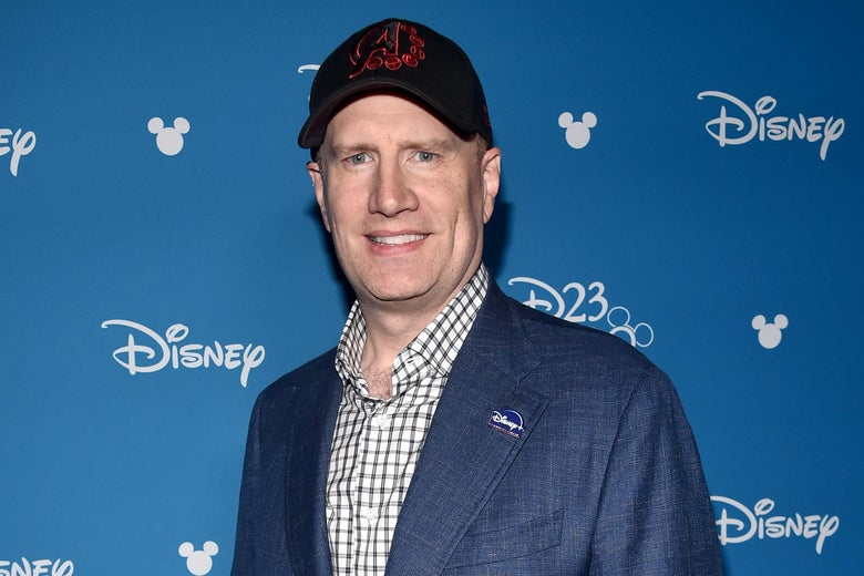 President of Marvel Studios Kevin Feige on a red carpet.