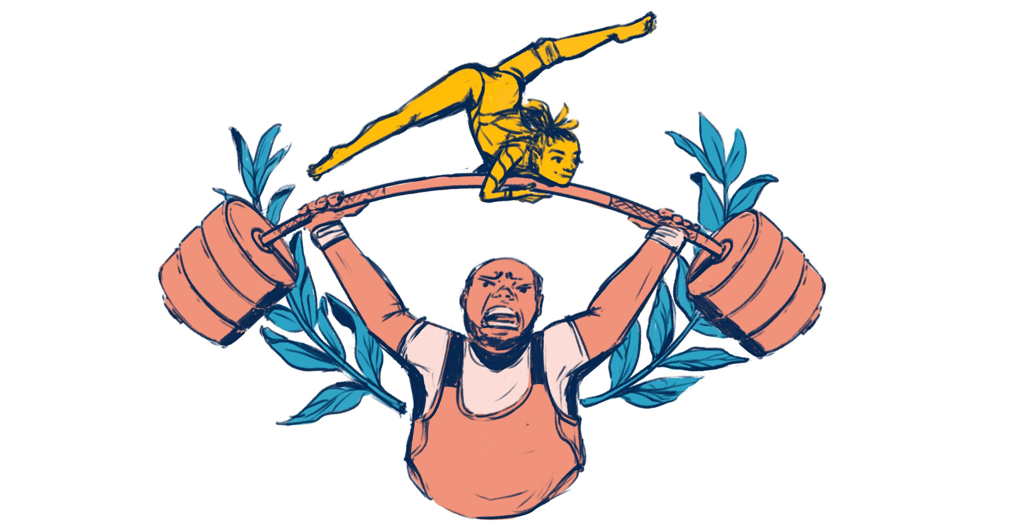 A man lifts a barbell with a woman doing gymnastics on top.