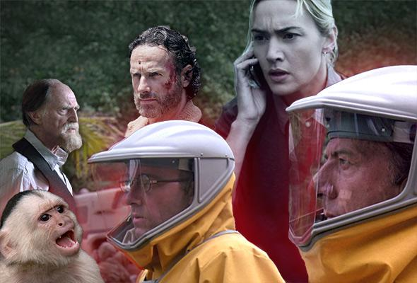 Clockwise from top left: David Bradley in The Strain, Andrew Lincoln in The Walking Dead, Kate Winslet in Contagion, and Dustin Hoffman and Kevin Spacey in Outbreak