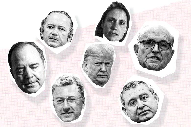 Photo collage of the heads of Donald Trump, Kurt Volker, Adam Schiff, Lev Parnas, Igor Fruman, Fiona Hill, and Rudy Giuliani.
