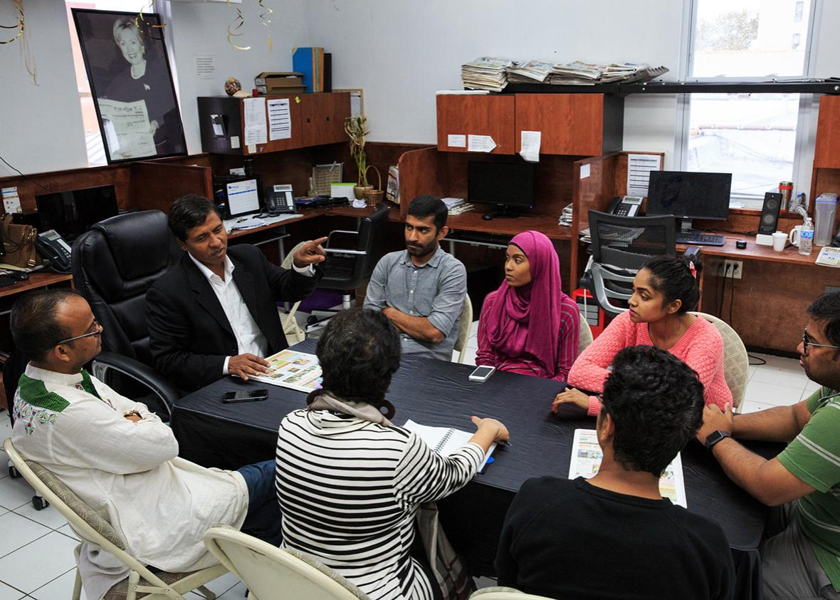 Reportes of Time Television, a bilingual station catering to New York City's Bangladeshi and South Asian community, gather for a pitch meeting at the station's office on September 30th, 2016 in Long Island City, New York.