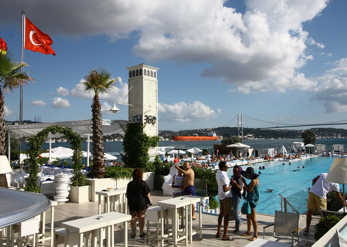 A club on an island in the middle of the Bosphorus.