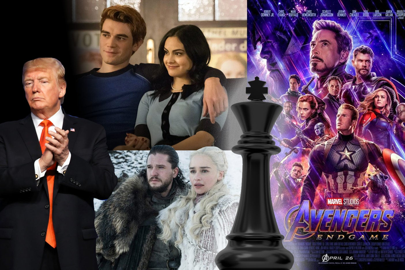 Photo collage of Donald Trump, Riverdale, Game of Thrones, Avengers: Endgame, and a chess king piece.