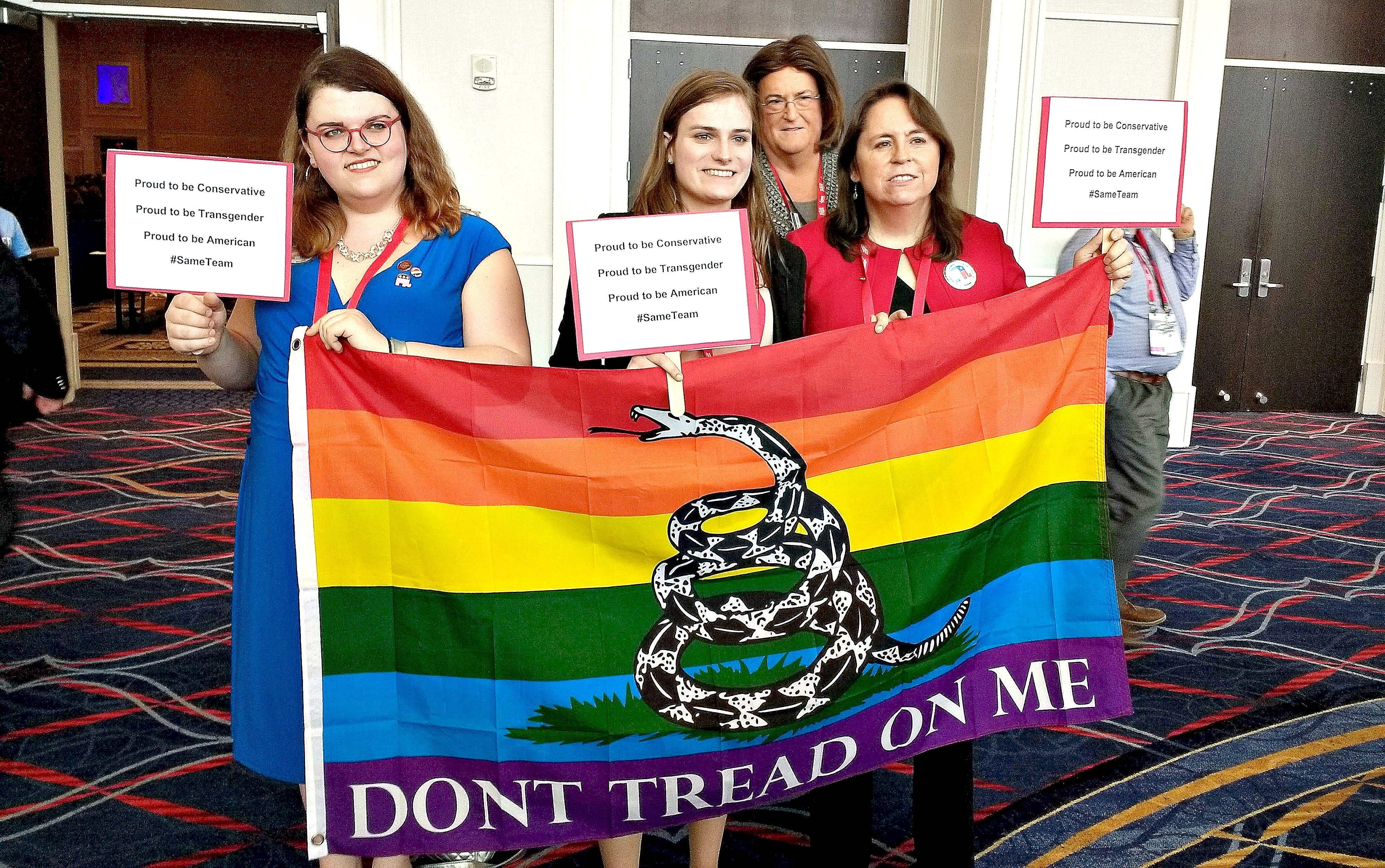 Jennifer Williams of Trenton, New Jersey (pictured far right, above) was with a small group of transgender CPAC attendees
