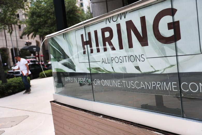 FORT LAUDERDALE, FLORIDA - MAY 03: A Now Hiring sign is seen on May 03, 2019 in Fort Lauderdale, Florida. The Labor Department released the month of April hiring and unemployment data that showed 263,000 jobs were created last month which beat analysts expectations and dropped the unemployment rate to 3.6 percent. (Photo by Joe Raedle/Getty Images)