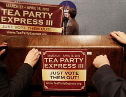 Banners of the Tea Party Express. Click image to expand.