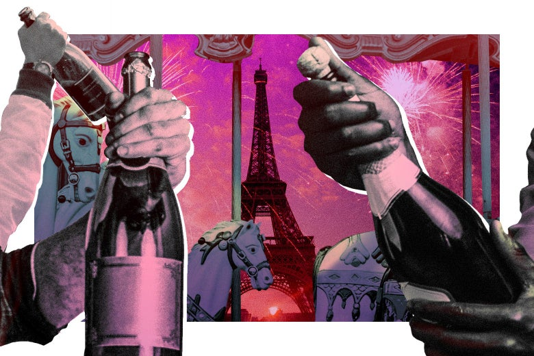 Hands hold Champagne bottles in front of a window that shows horses and the Eiffel Tower.