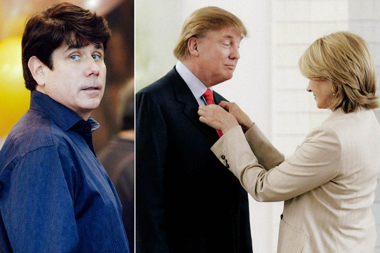 Rod Blagojevich looks at the camera. Martha Stewart fixes Donald Trump's tie in a separate image.