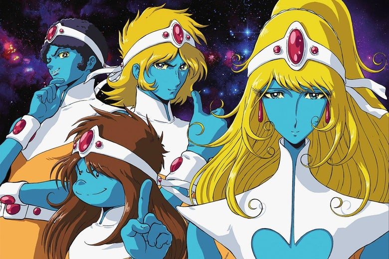 A group of four characters stand together. They have blue skin and wear white costumes. Two are blond, and two have brown hair.