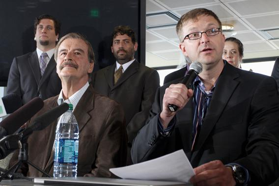 Marijuana entrepreneur and CEO of Diego Pellicer Inc. Jamen Shively (front R) talks next to former President of Mexico Vicente Fox (front L) during a news conference in Seattle, Washington, May 30, 2013.