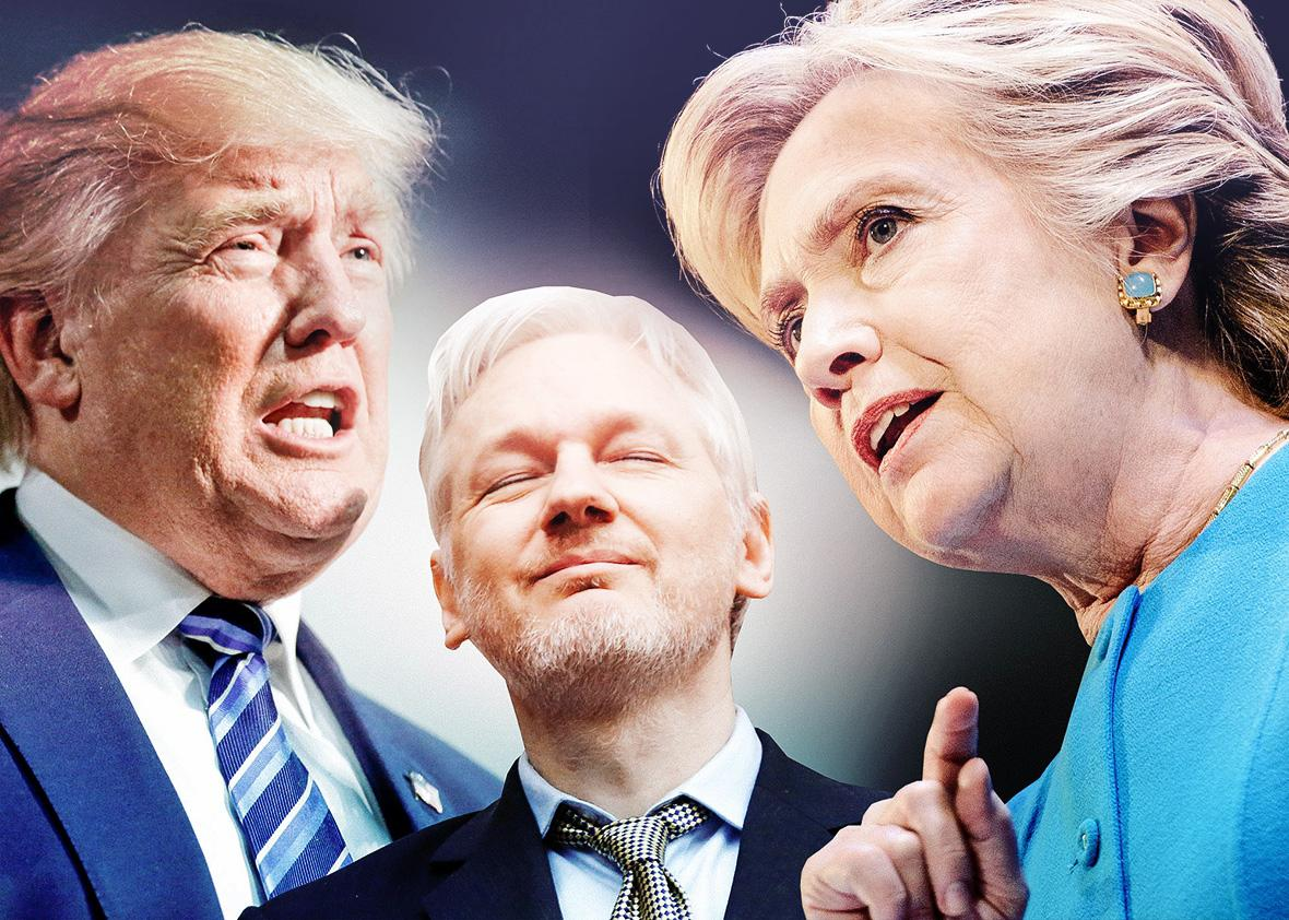 Donald Trump, Julian Assange, Hillary Clinton.