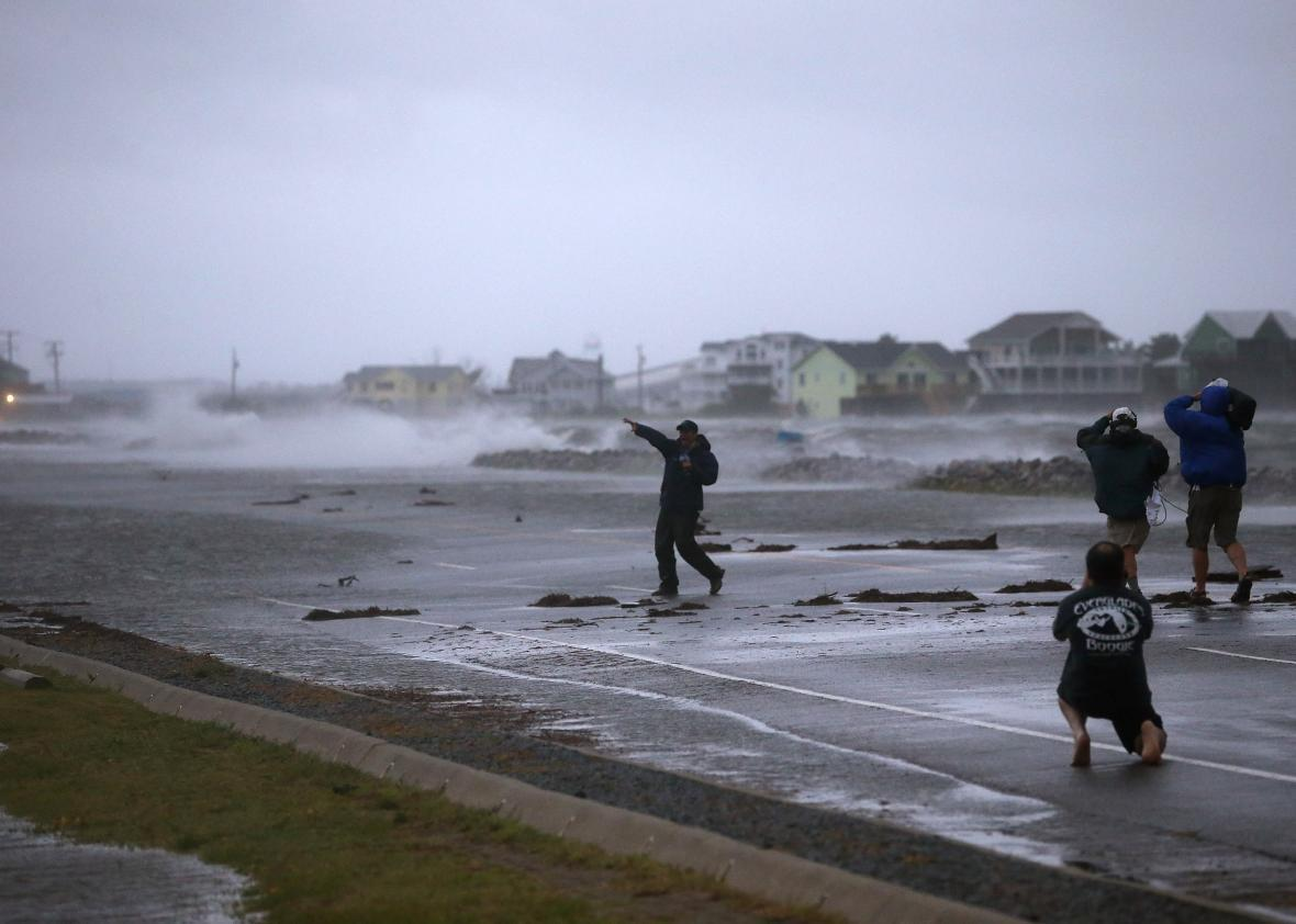 TV reporters should stand outside during hurricanes