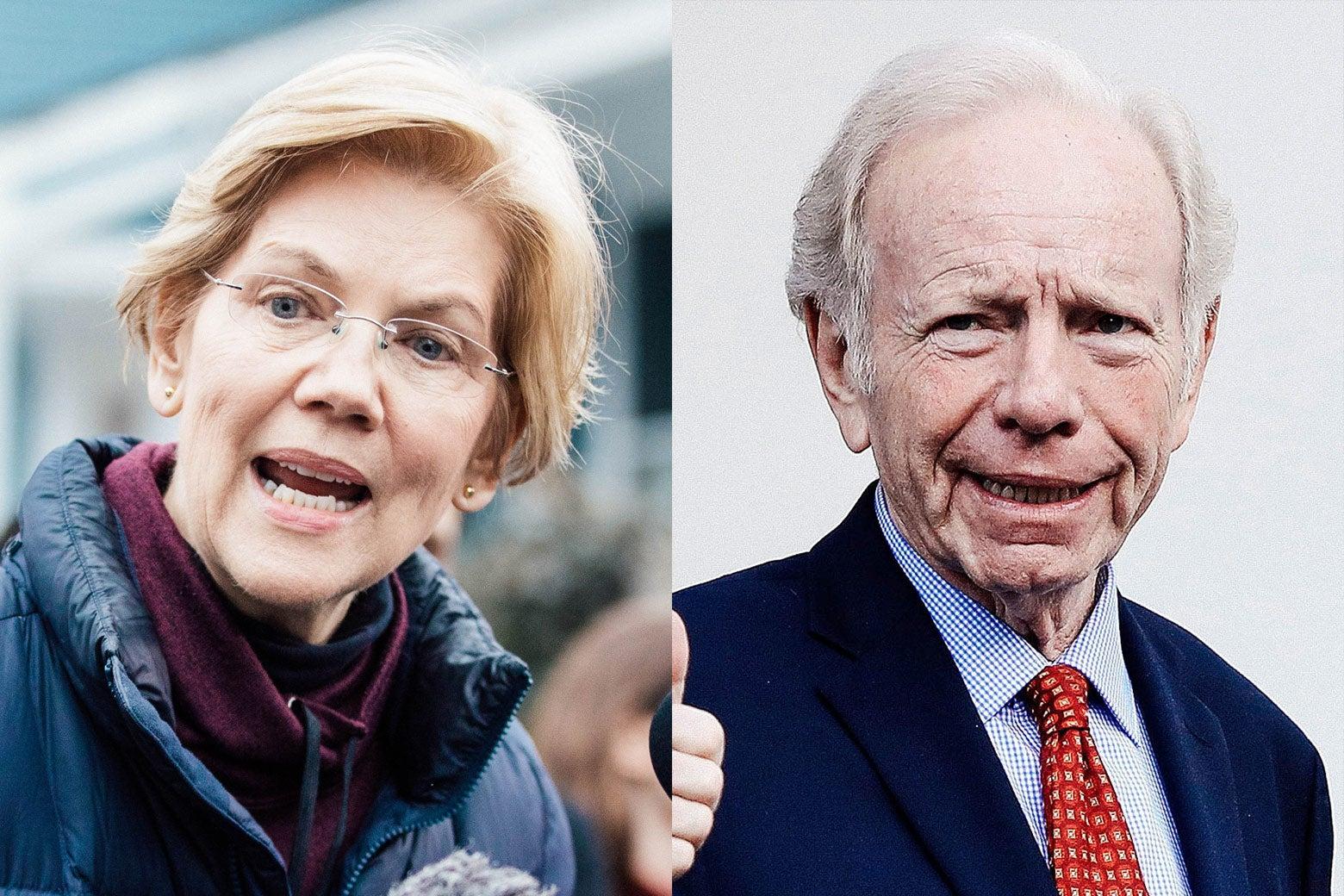 Closeup shots of Warren and Lieberman.