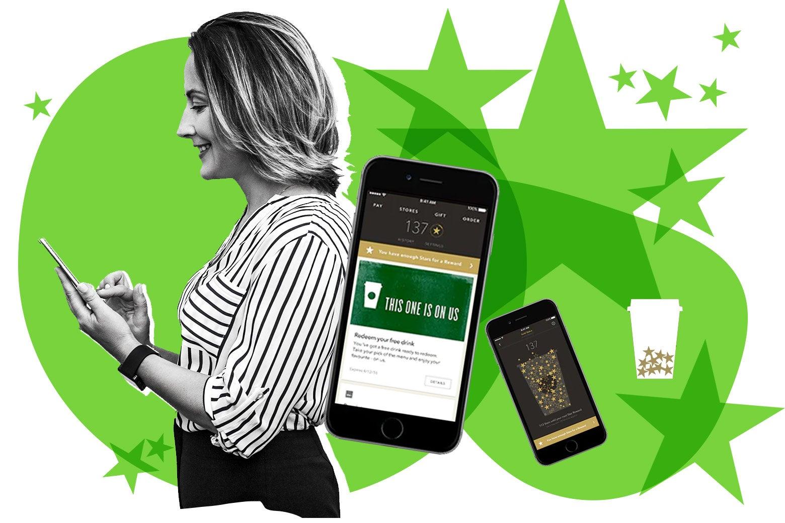 Woman on her phone, Starbucks app screenshots