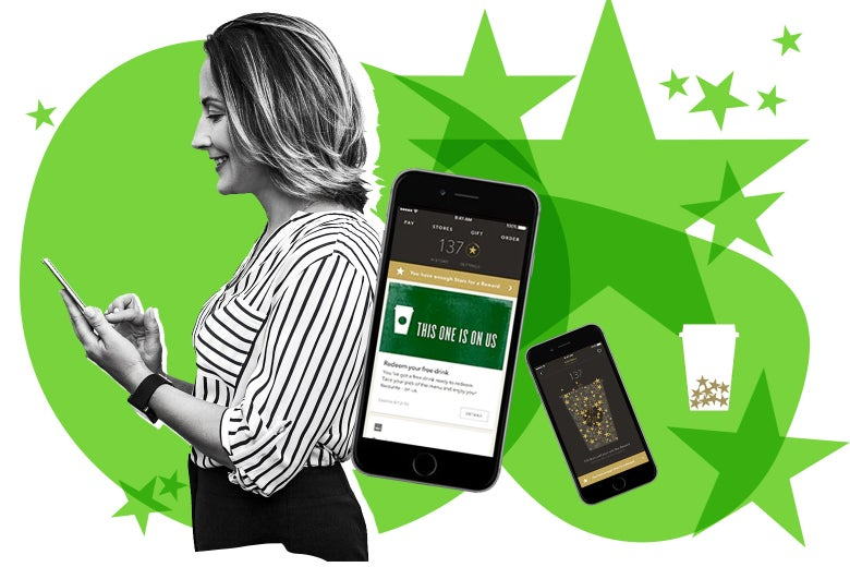 Woman on her phone, Starbucks app screenshots