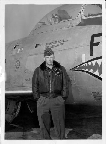 Major Thomas David Dobbs, USAF, and his F-86D Sabre Dog