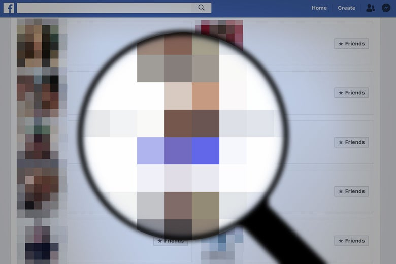 Illustration of a grid of blurry Facebook profile photos with a magnifying glass over it