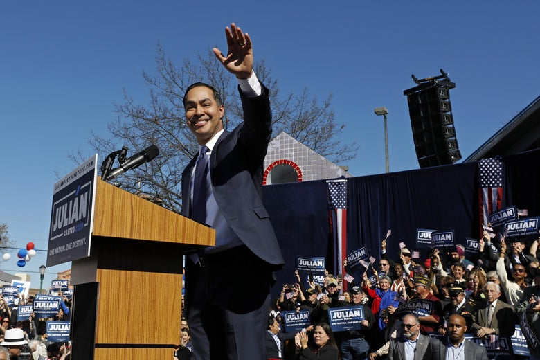 Julián Castro, former U.S. Department of Housing and Urban Development (HUD) secretary and San Antonio mayor, announces his candidacy for president in 2020, at Plaza Guadalupe on January 12, 2019 in San Antonio, Texas.