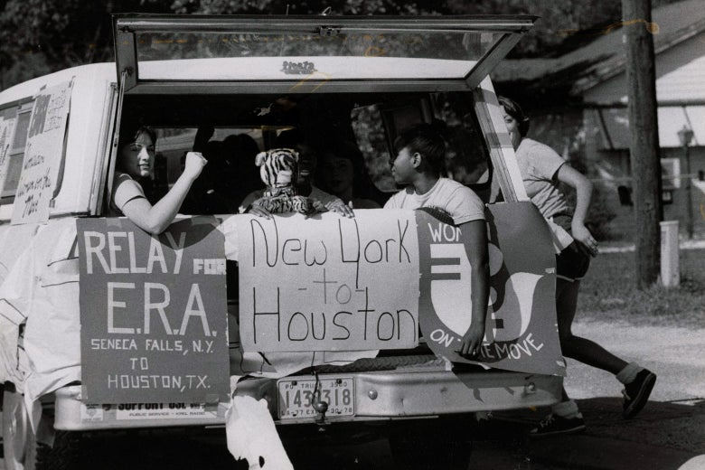 "Women embark on the ""Relay for ERA"" from Seneca Falls, New York (site of the first women's rights convention), to Houston (site of the National Women's Conference) in 1977."