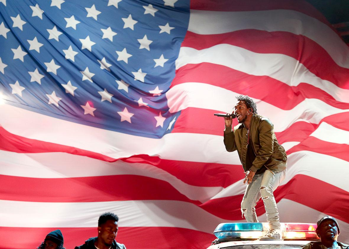 Kendrick Lamar performs onstage during the 2015 BET Awards.