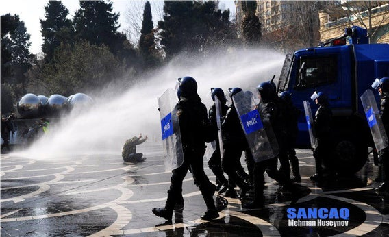 Ilkin Rustemzade helped organize this March 2013 demonstration in Baku, which was broken up by police