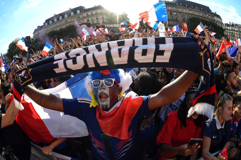 French football supporters in Paris watching the World Cup.