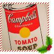 Painting of a Campell's Soup Can by Andy Warhol.