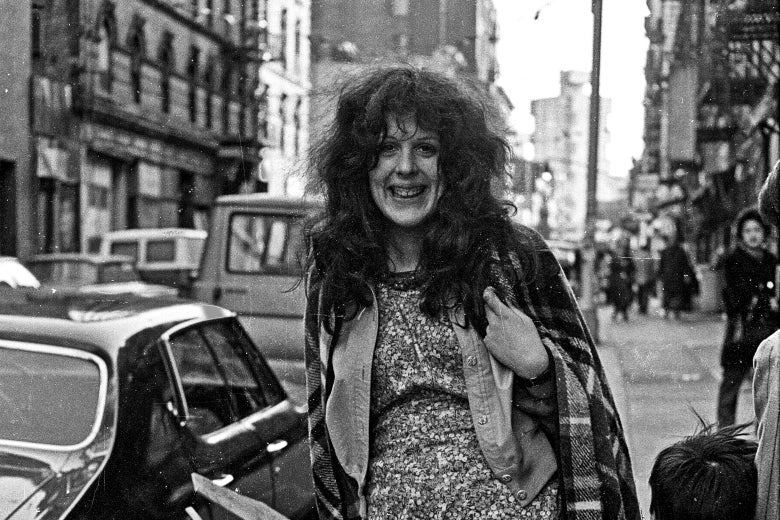 A black-and-white photo of Cynthia Heimel on Manhattan's Lower East Side in 1973.