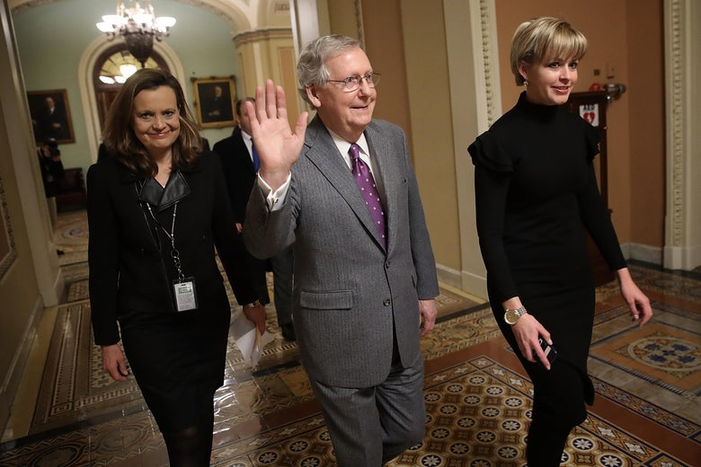 WASHINGTON, DC - FEBRUARY 09:  Senate Majority Leader Mitch McConnell (C) (R-KY) from the floor of the U.S. Senate after passage of a long term fudning bill February 9, 2018 in Washington, DC. After a delay caused by Sen. Rand Paul (R-KY), the Senate passed the legislation and the House of Representatives is expected to vote in the early morning following an agreement between Republican and Democratic leaders in the U.S. Senate.  (Photo by Win McNamee/Getty Images)