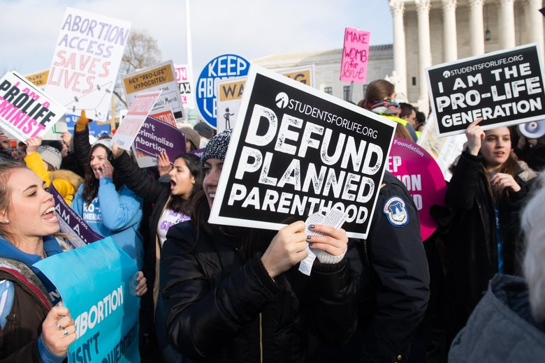 Anti-abortion activists participate in the March for Life, an annual event to mark the anniversary of Roe v. Wade, outside the U.S. Supreme Court in Washington, D.C., on Jan. 18.