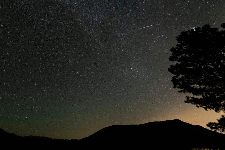 A mountain scene at night.
