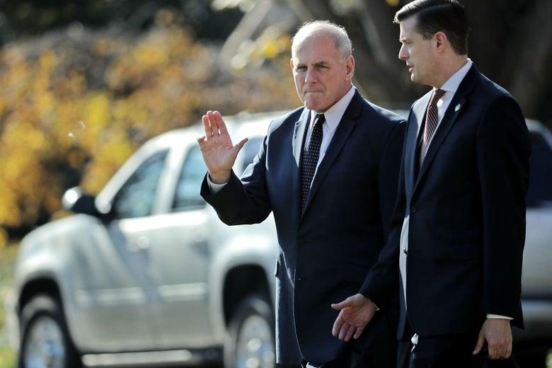 White House chief of staff John Kelly with staff secretary Rob Porter on Nov. 29, 2017.