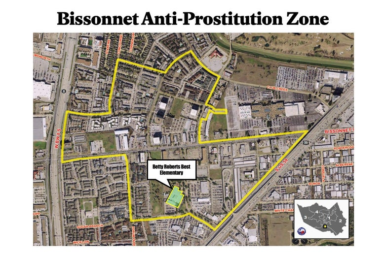 Map of the Bissonnet anti-prostitution zone.