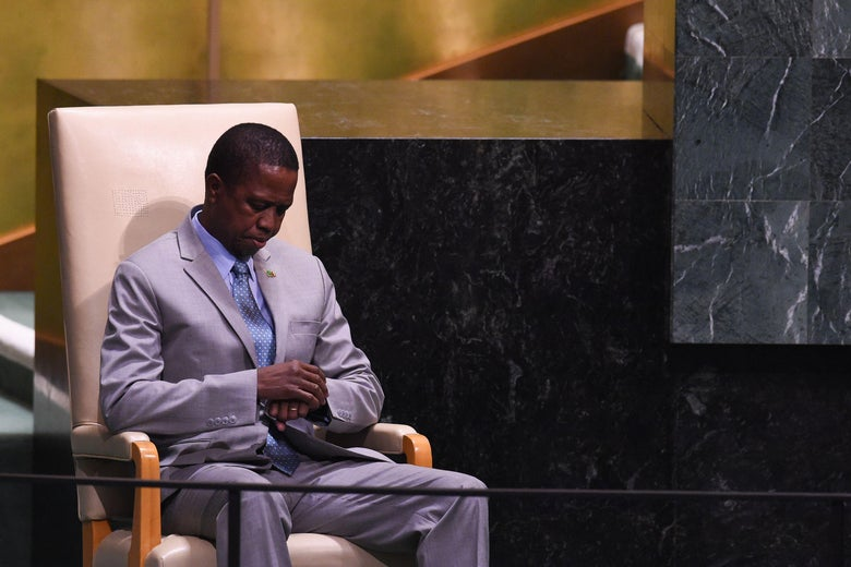 Zambian President Edgar Chagwa Lungu waits to speak at the United Nations General Assembly on Sept. 25, 2018 in New York.