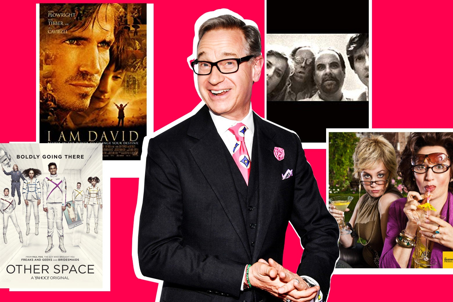 Photo illustration: Paul Feig and posters and stills from various Feig projects, including Other Space and I Am David.