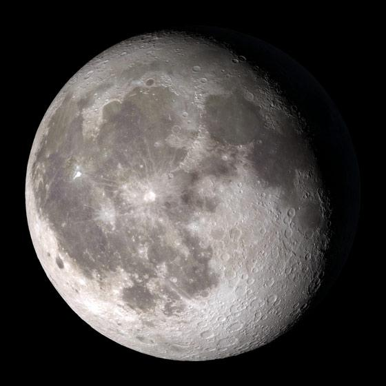 The gibbous Moon, from a NASA animation