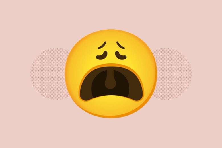 An extremely distraught emoji face.