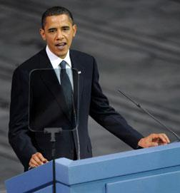US President and Nobel Peace Prize laureate Barack Obama gives his Nobel lecture.