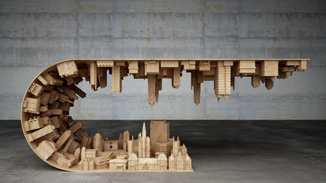 Wave City Coffee Table by Stelios Mousarris looks like something out of a disaster movie.