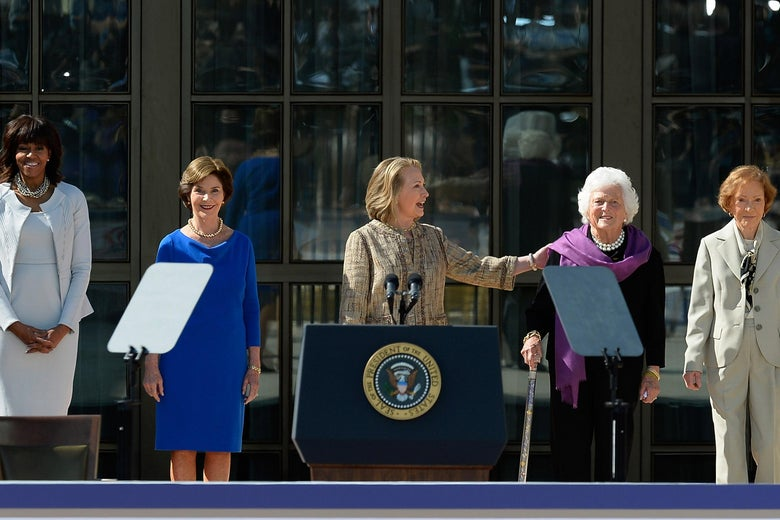 DALLAS, TX - APRIL 25: (L-R) First lady Michelle Obama, former first lady Laura Bush, former first lady Hillary Clinton, former first lady Barbara Bush and former first lady Rosalynn Carter are introduced during the opening ceremony of the George W. Bush Presidential Center April 25, 2013 in Dallas, Texas. The Bush library, which is located on the campus of Southern Methodist University, with more than 70 million pages of paper records, 43,000 artifacts, 200 million emails and four million digital photographs, will be opened to the public on May 1, 2013. The library is the 13th presidential library in the National Archives and Records Administration system.  (Photo by Kevork Djansezian/Getty Images)