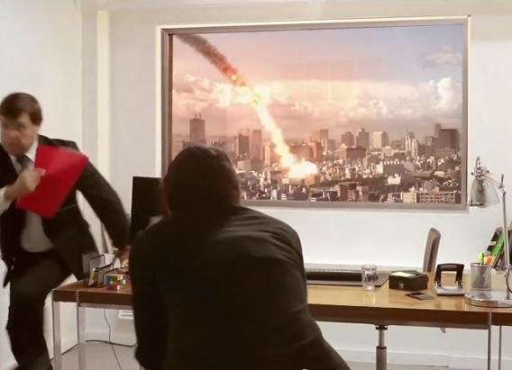 LG TV ad featuring an asteroid impact