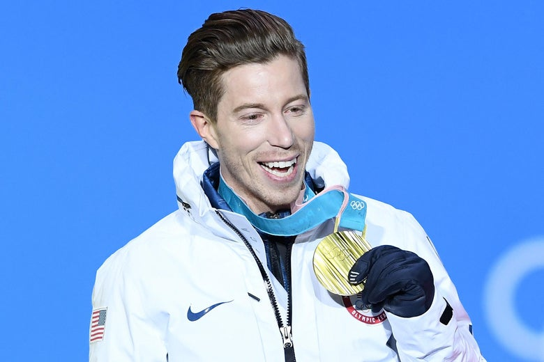 U.S. gold medalist Shaun White poses during the medal ceremony for the snowboard men's halfpipe final on Wednesday at the Pyeongchang 2018 Winter Olympics in South Korea.