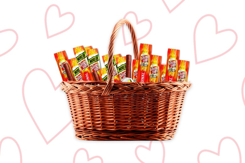 A basket full of Slim Jims.