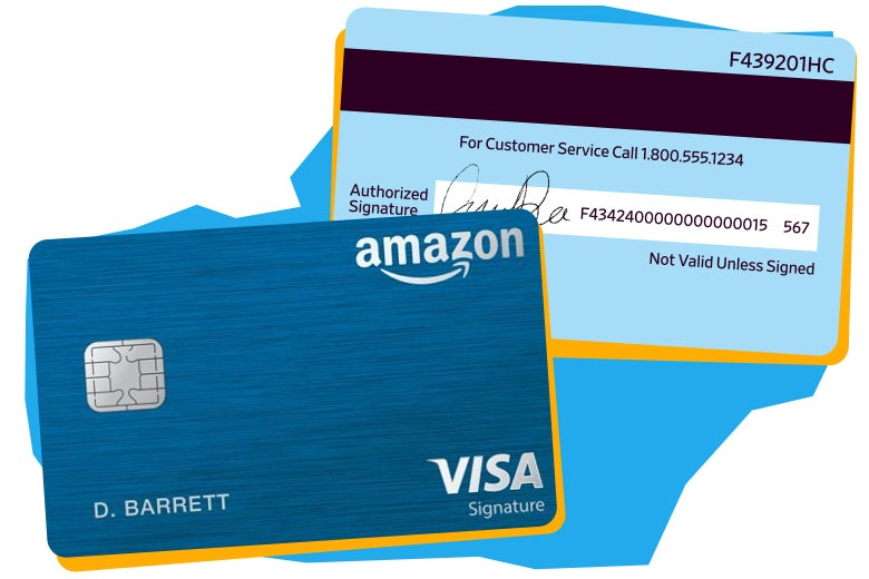 Amazon credit cards with numbers on back.