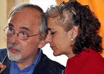 US comic book writer Art Spiegelman and his wife Françoise Mouly at the Angouleme world comic strip festival, on January 29, 2012 in Angouleme, France.