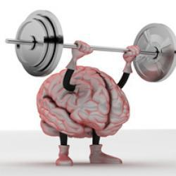 Cartoon of a brain lifting weights