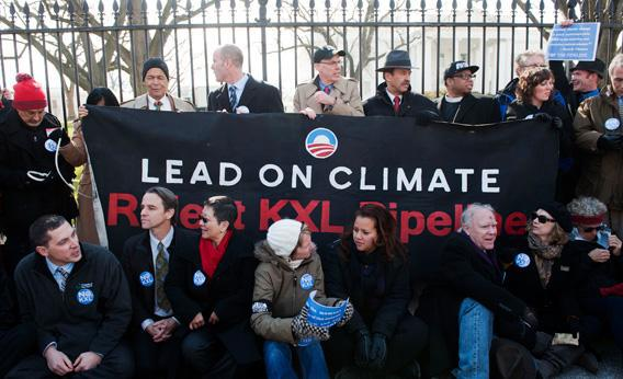 Julian Bond, Michael Brune, Bill McKibben, and Lennox Yearwood protest against the Keystone XL Pipeline at Lafayette Park on Feb. 13 in Washington, DC.