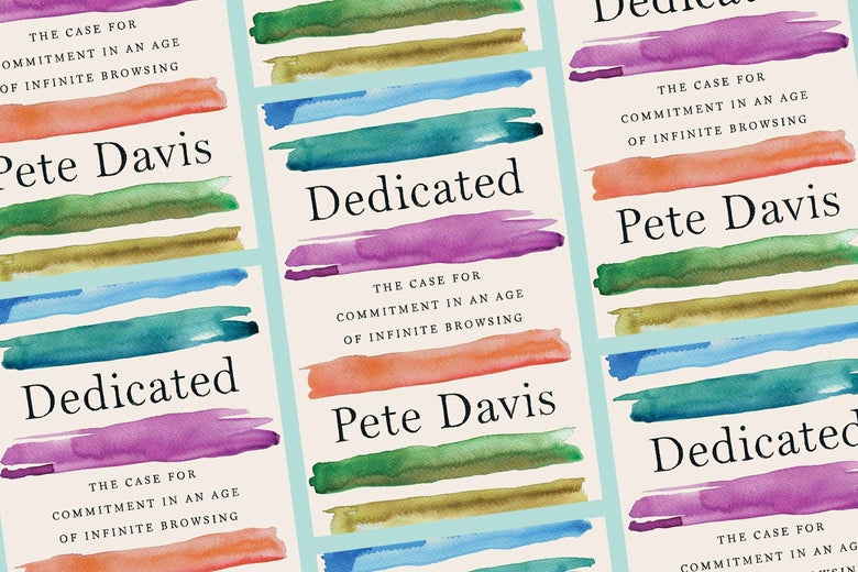 A repeating pattern of covers of the book Dedicated by Pete Davis.